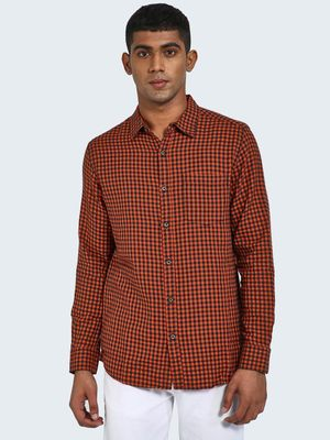 Blue Saint Gingham Check Print Long Sleeve Shirt