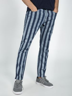 Blue Saint Men's Vertical Stripe Slim Jeans