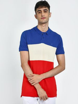 Blue Saint Colour Block Longline Polo Shirt