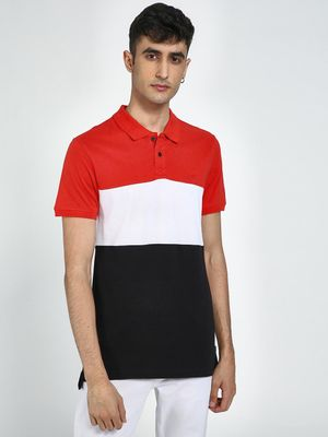 Blue Saint Colour Block Polo Neck Shirt