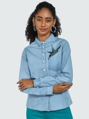 Blue Saint Bird Embroidered Chambray Shirt
