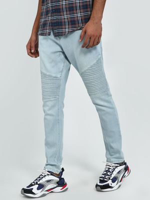 Blue Saint Panelled Front Zipper Slim Jeans