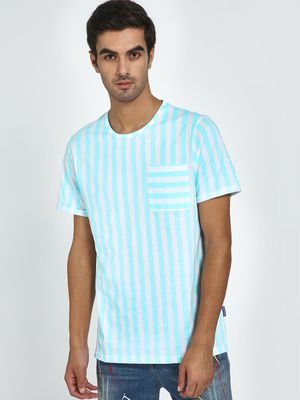 Blue Saint Vertical Stripes Patch Pocket T-Shirt