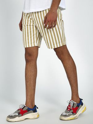 Blue Saint Khaki Vertical Stripe Regular Fit Shorts