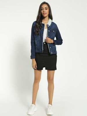 Blue Saint Front Split Mini Denim Skirt