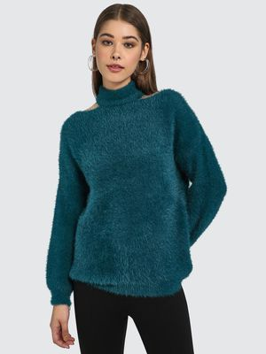 Blue Saint Cut-Out Turtle Neck Jumper