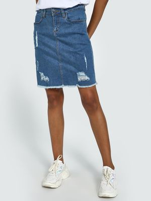 Blue Saint Mid-Wash Distressed Denim Skirt