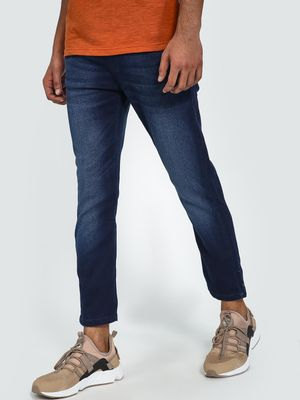 Blue Saint Mid-Wash Drawcord Cropped Slim Jeans