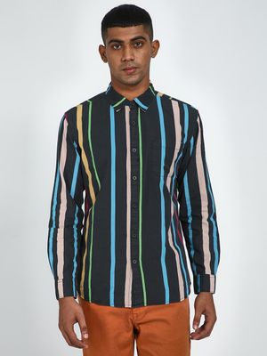 Blue Saint All Over Vertical Stripe Print Shirt