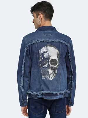 Blue Saint Back Skull Print Distressed Denim Jacket