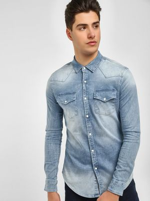 Blue Saint Washed Denim Skinny Fit Shirt