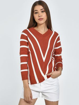 Blue Saint Chevron Stripe V Neck Pullover