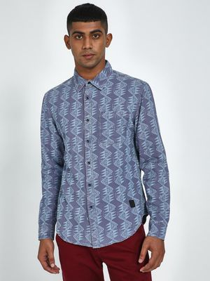 Blue Saint Abstract Print Slim Fit Shirt