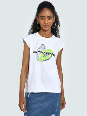 Blue Saint Papaya Placement Print T-Shirt