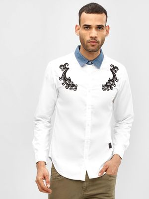 Blue Saint Contrast Collar Embroidered Slim Shirt