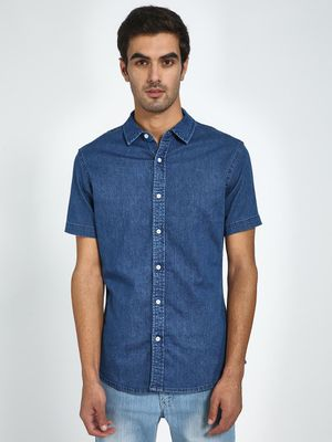 Blue Saint Basic Short Sleeve Denim Shirt