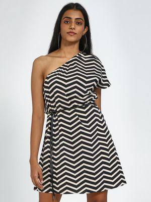 Blue Saint Chevron Print One Shoulder Shift Dress