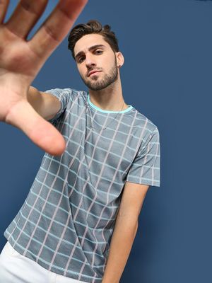 Blue Saint Windowpane Check Round Neck T-Shirt
