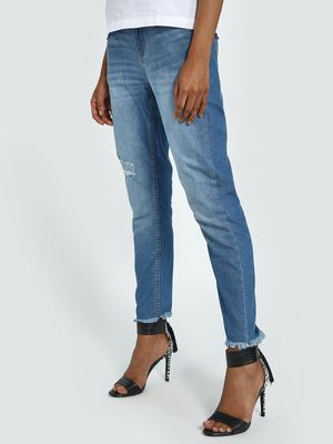 Blue Saint Light Wash Distressed Slim Jeans