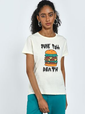 Blue Saint Burger Slogan Print Round Neck T-Shirt