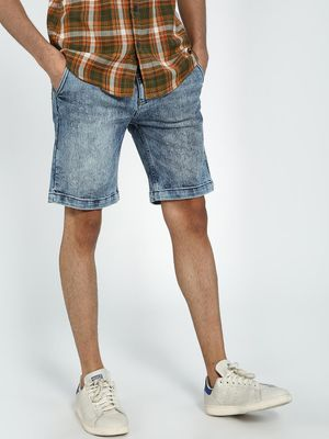 Blue Saint Distressed Acid Wash Denim Shorts