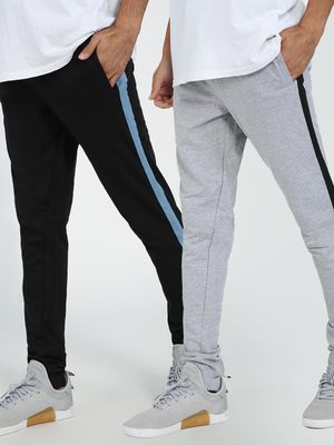Blue Saint Contrast Side Tape Slim Jog Pants (Pack Of 2)
