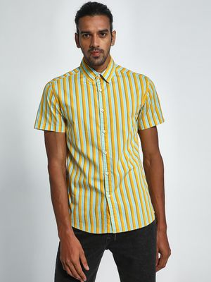 Blue Saint Vertical Stripe Short Sleeve Shirt
