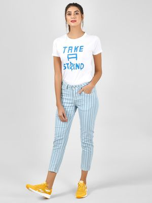 Blue Saint Cropped Length Striped Slim Jeans