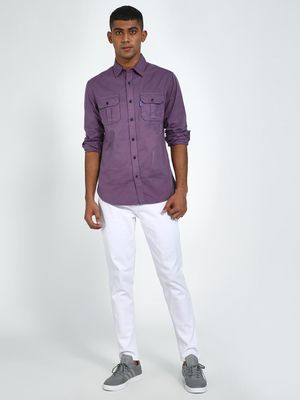 Blue Saint Men's Purple Twin Pocket Slim Fit Shirt