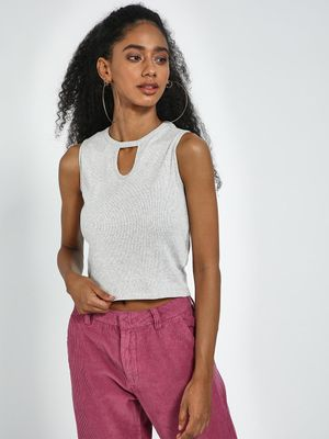Blue Saint Grey Cut Work Round Neck Sleeveless Tank Top