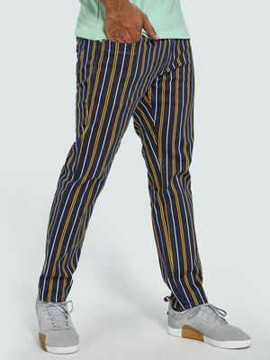 Blue Saint Contrast Vertical Stripe Trousers