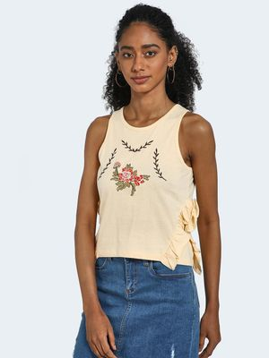 Blue Saint Embroidered Flower Motif Crop Top