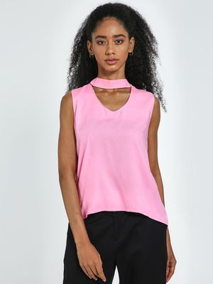 Blue Saint Pink Choker Style Slim Fit Tank Top