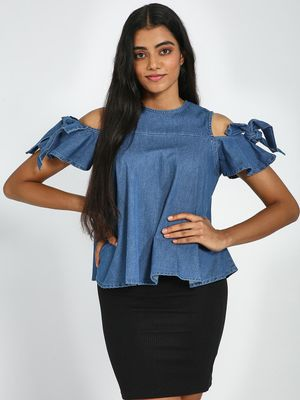 Blue Saint Cold Shoulder Denim Top