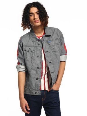 Blue Saint Contrast Side Tape Denim Jacket