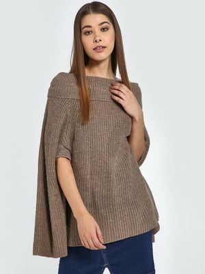 Blue Saint Off-Shoulder Knitted Poncho