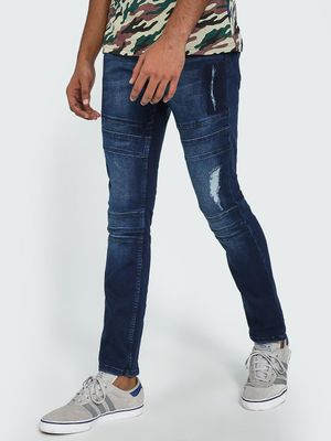 Blue Saint Mid Wash Biker Panel Distressed Slim Jeans