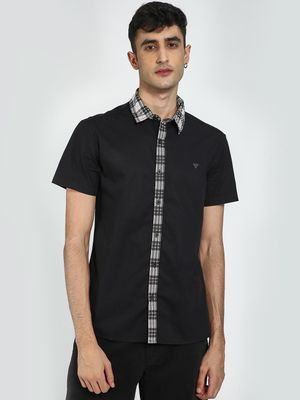 Blue Saint Checked Collar Short Sleeve Shirt
