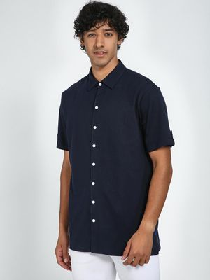 Blue Saint Contrast Button Casual Shirt