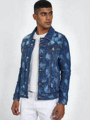 Blue Saint Acid Wash All Over Print Jacket