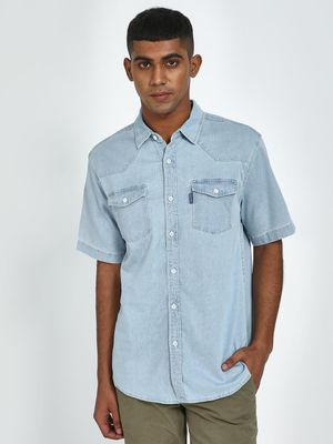 Blue Saint Twin Patch Pocket Denim Shirt