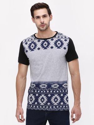 Blue Saint Ikat Print Crew Neck T-Shirt