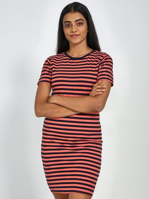 Blue Saint Horizontal Stripes Knitted T-shirt Dress