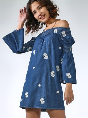 Blue Saint Floral Print Off-Shoulder Dress