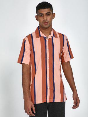 Blue Saint Contrast Vertical Stripe Print Shirt