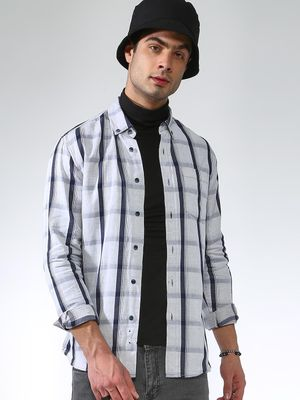 Blue Saint Check Print Long Sleeve Shirt