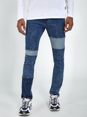 Blue Saint Light Wash Contrast Panelled Slim Jeans