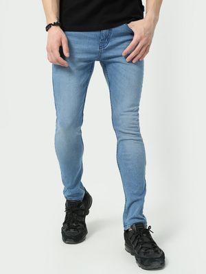 Blue Saint Text Printed Skinny Jeans