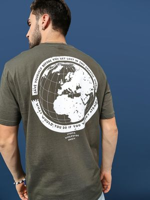 Blue Saint Globe Printed back Casual T-Shirt