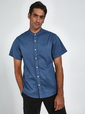 Blue Saint Mandarin Collar Short Sleeve Shirt